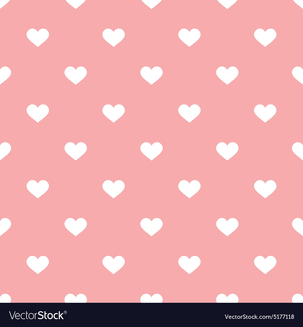 Tile pattern with white hearts on pastel pink vector