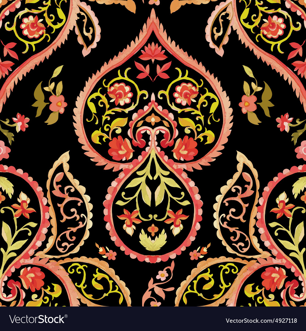 Watercolor paisley seamless pattern vector