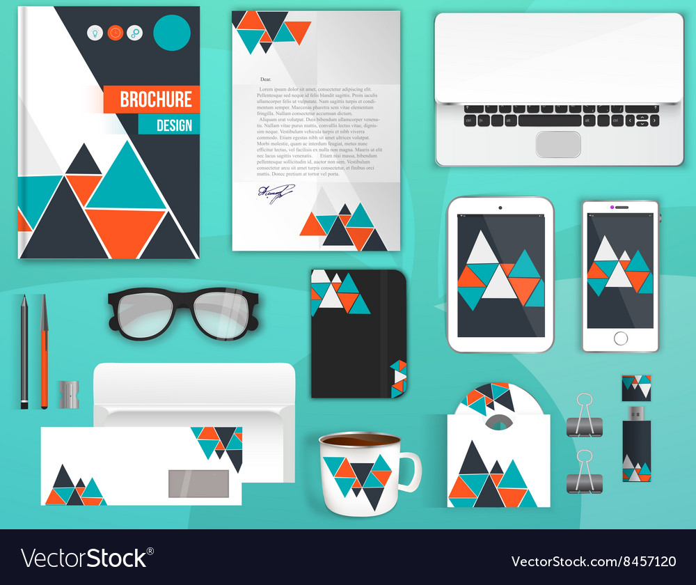 Colorful corporate identity template set business vector