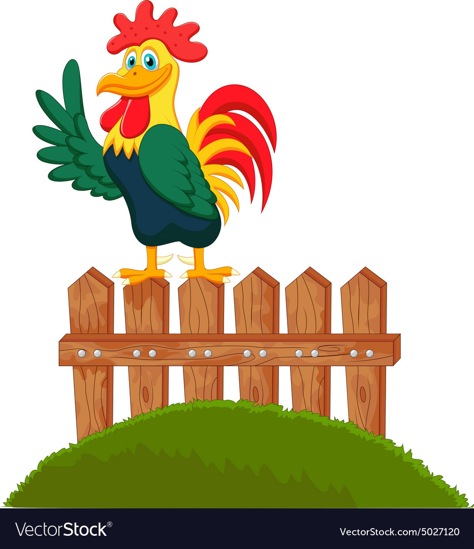 Cute rooster crowing on the fence vector