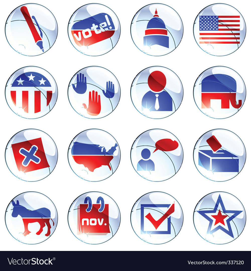 Set of political buttons vector
