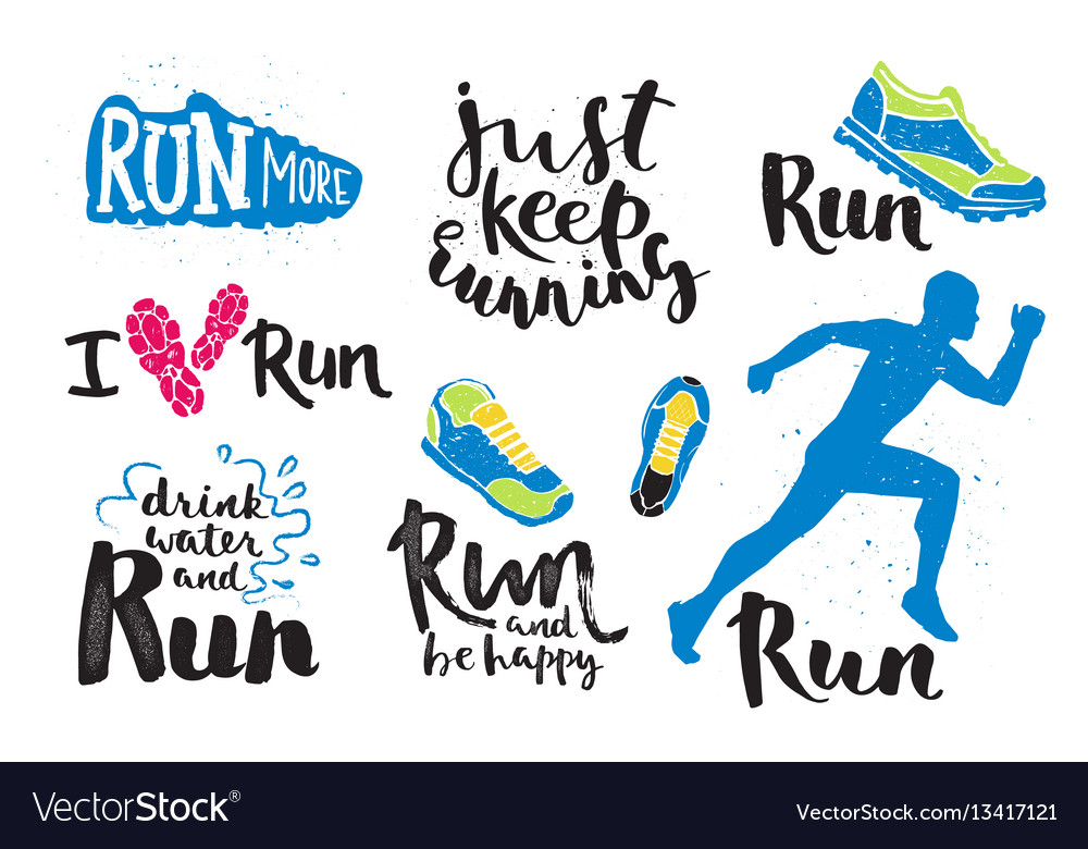 Running man marathon logo jogging emblems label vector