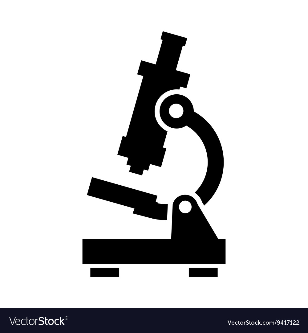 Black microscope icon vector