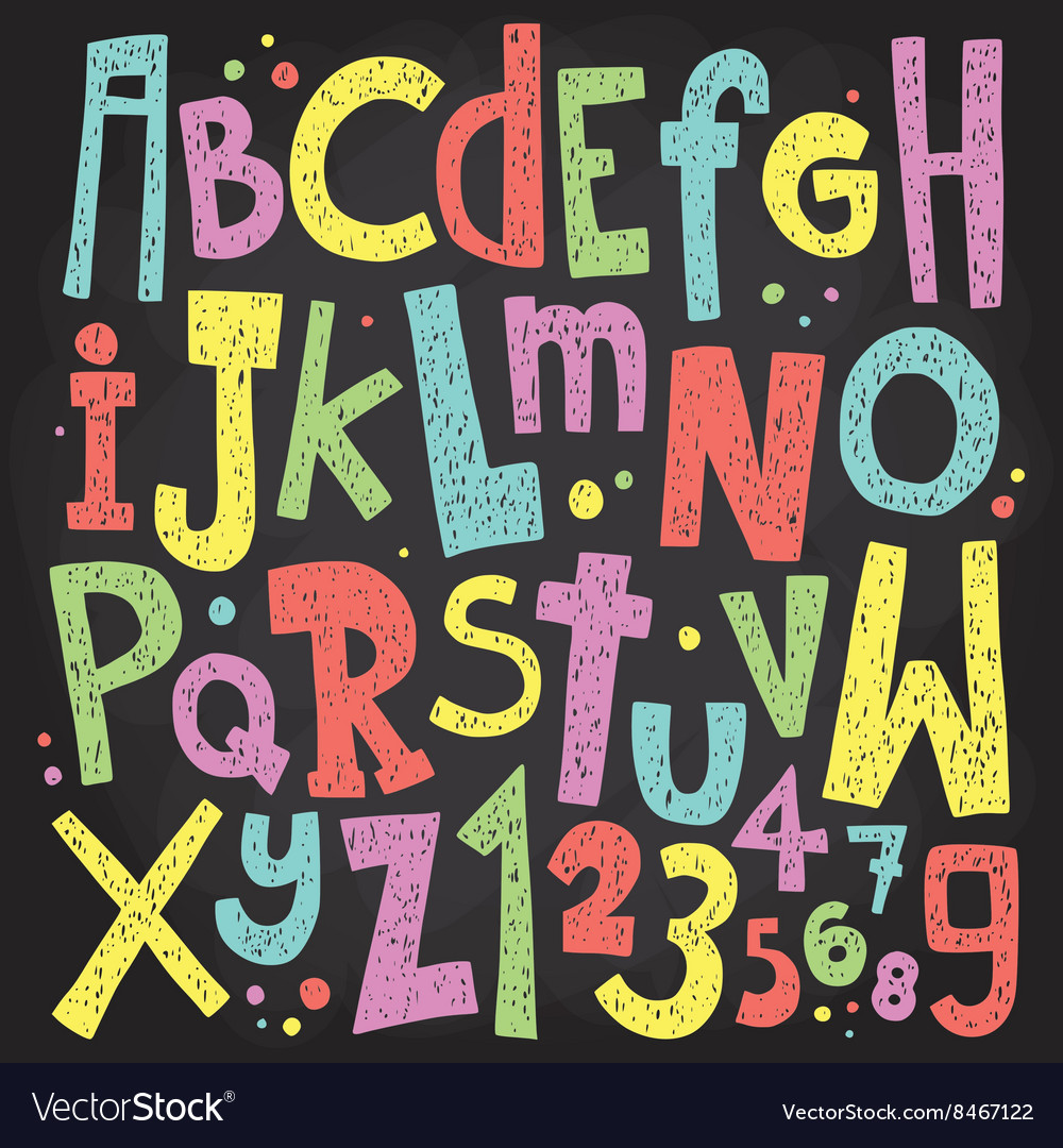 Colorful chalk board letters and numbers vintage vector
