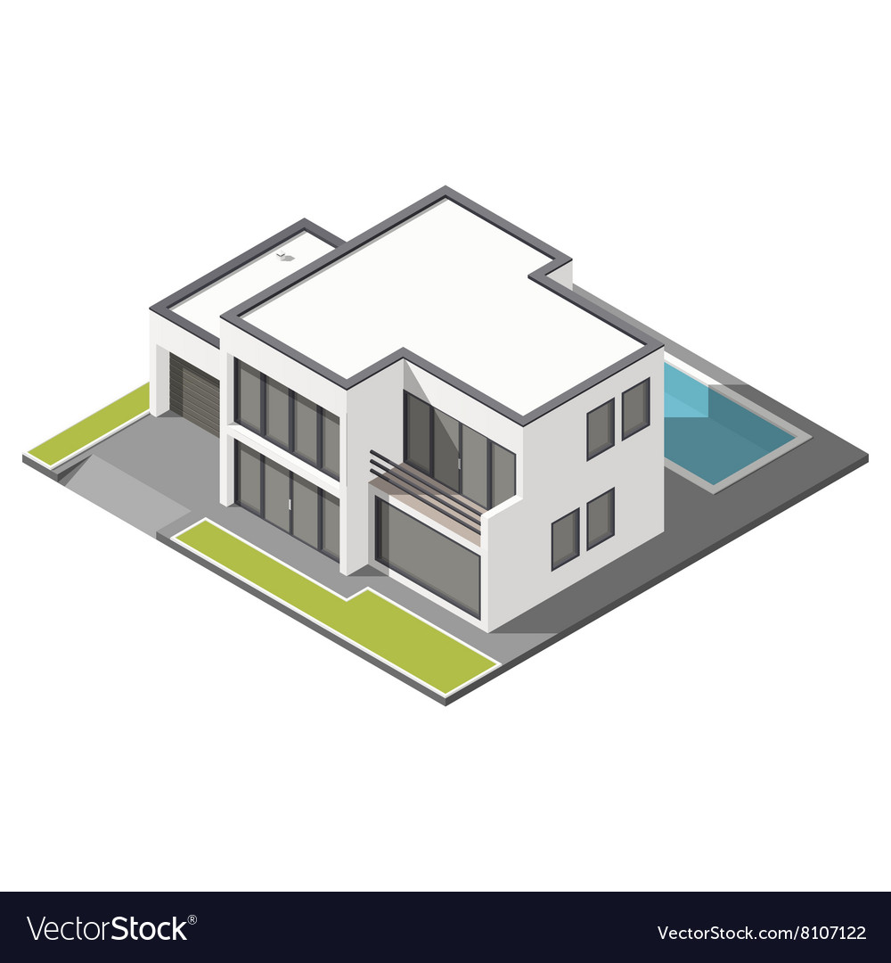 Modern twostory house with flat roof sometric vector