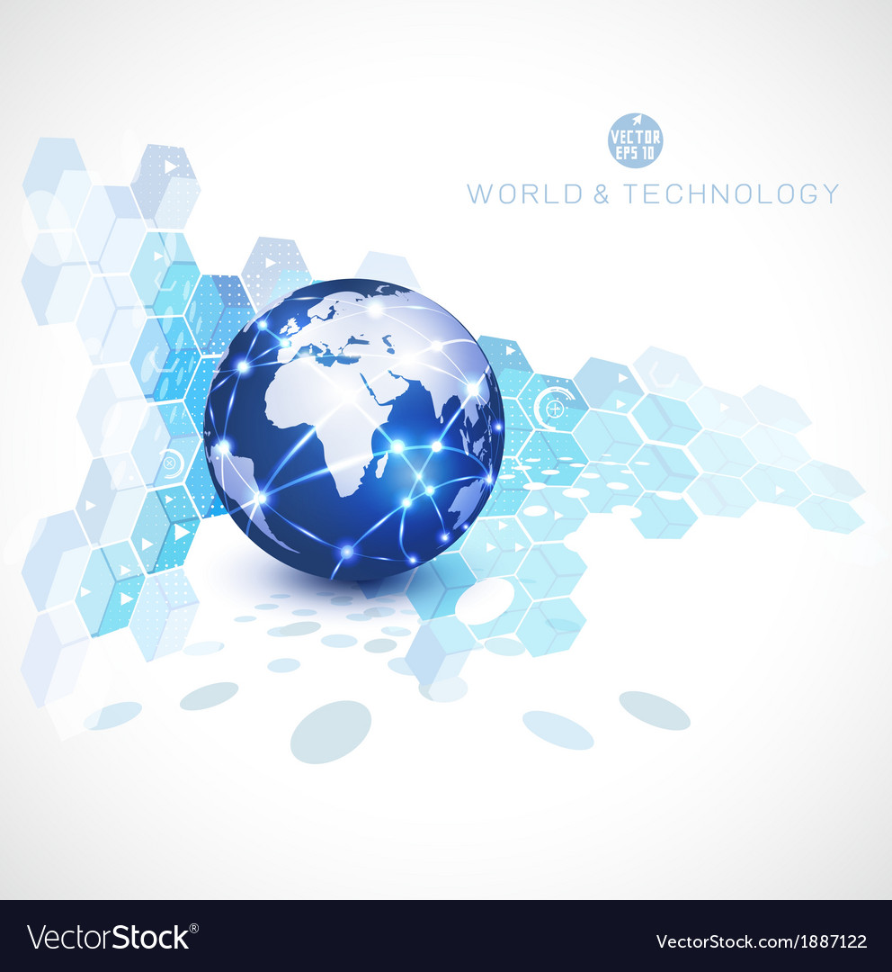 World network communication and technology vector
