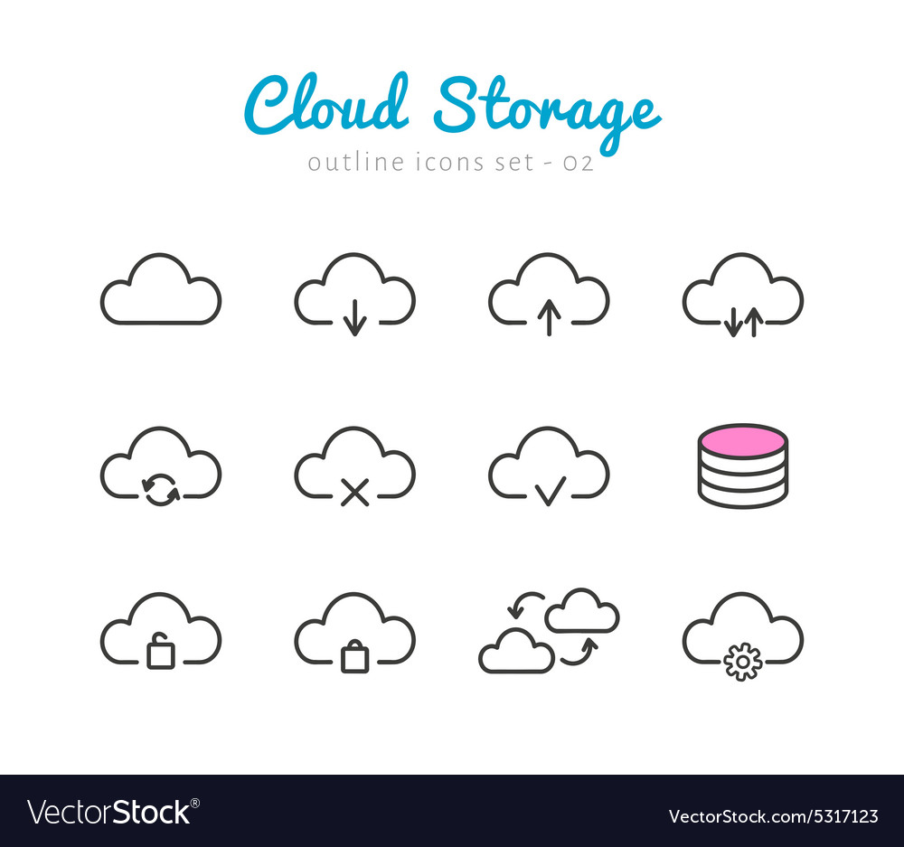 Cloud storage icons set vector