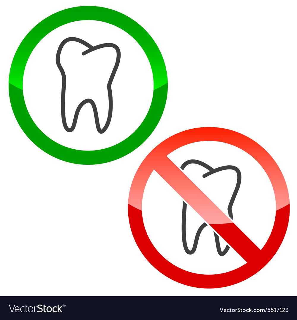 Dentist permission signs set vector