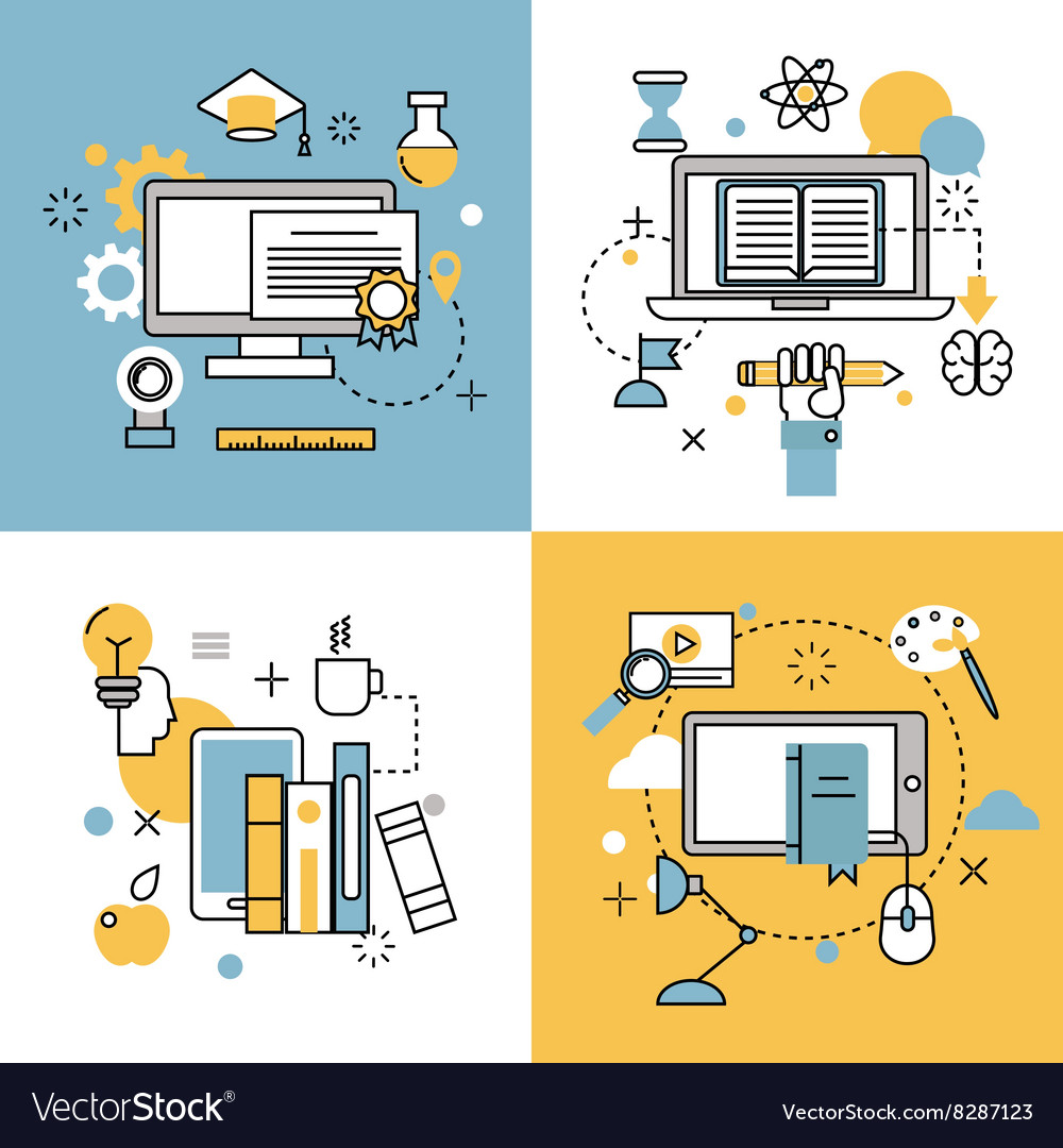 Online education thin outline icons set of vector