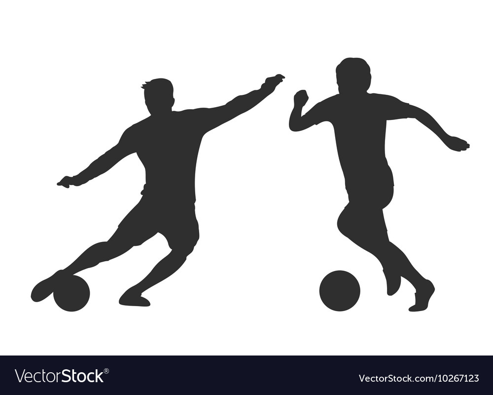 Soccer players silhouettes isolated over white vector