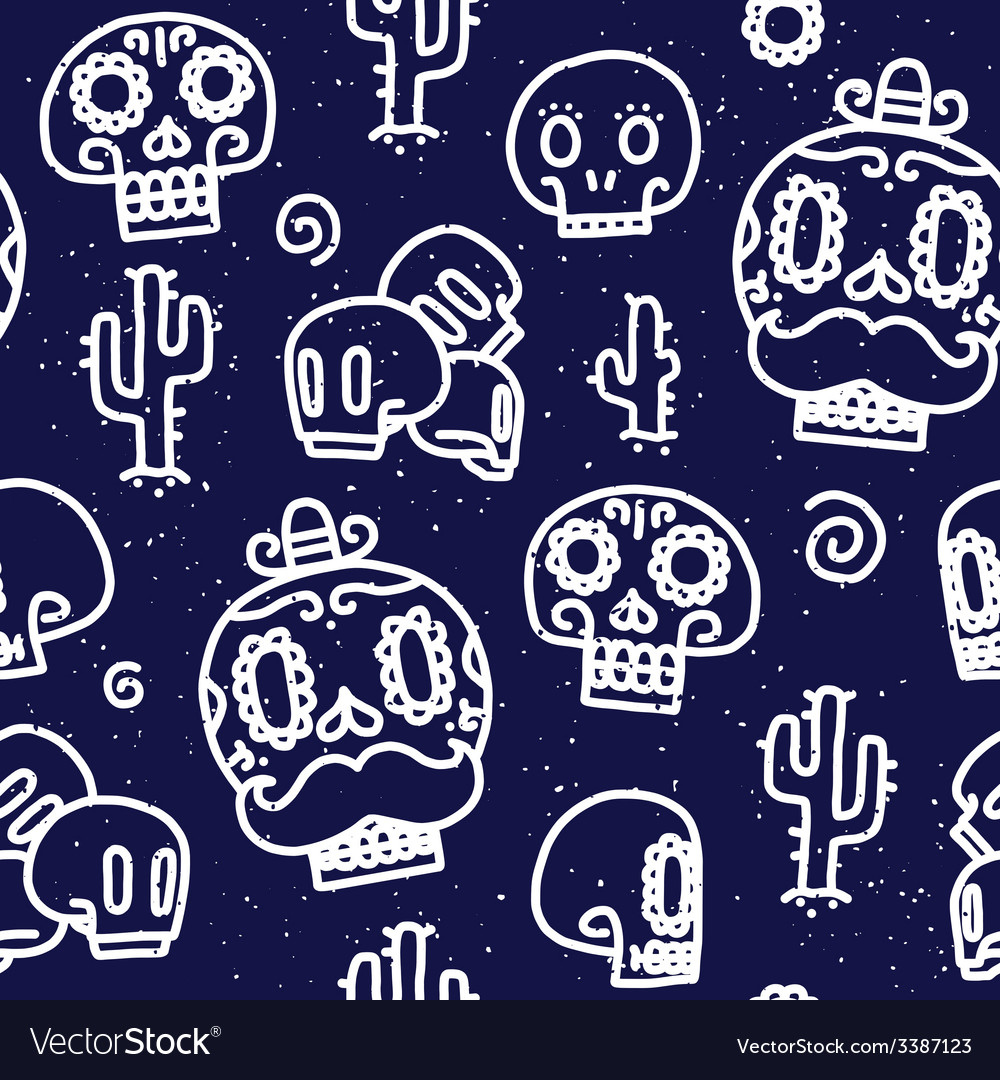 Sugar skulls seamless pattern vector