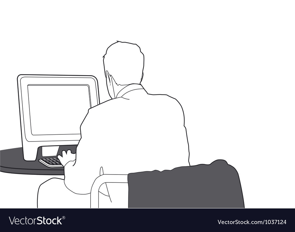 Businessman working with computer vector