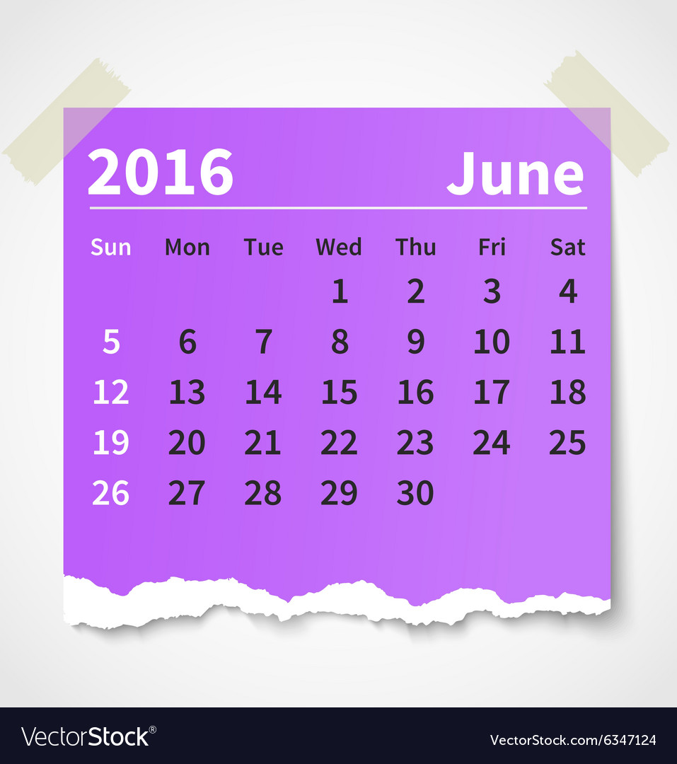 Calendar june 2016 colorful torn paper vector