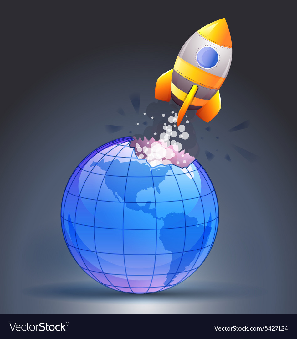 Rocket moving through the earth vector