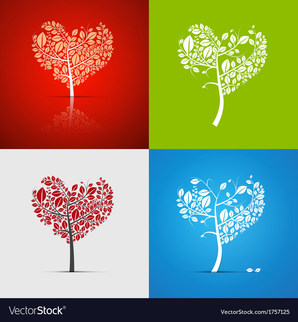 Abstract heartshaped tree set on green red white vector