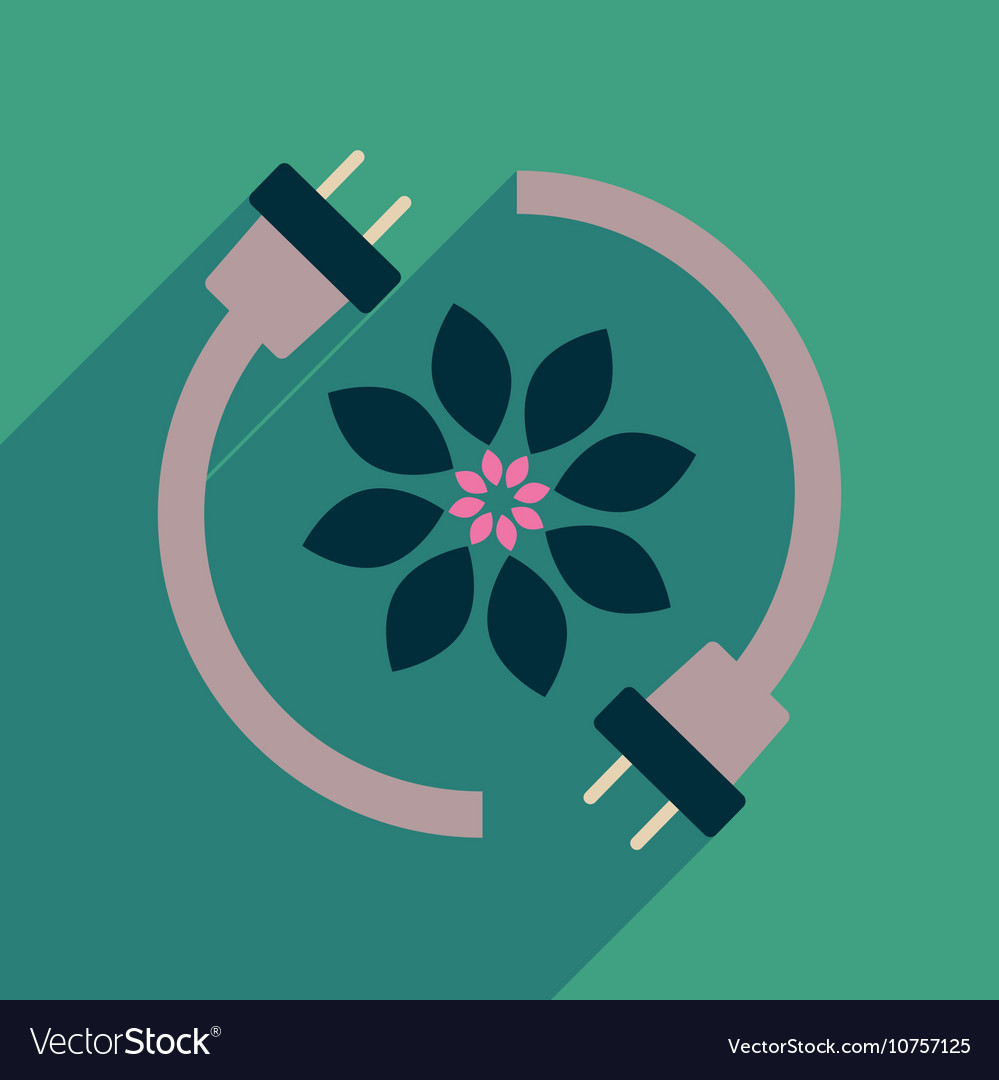 Flat web icon with long shadow eco energy vector