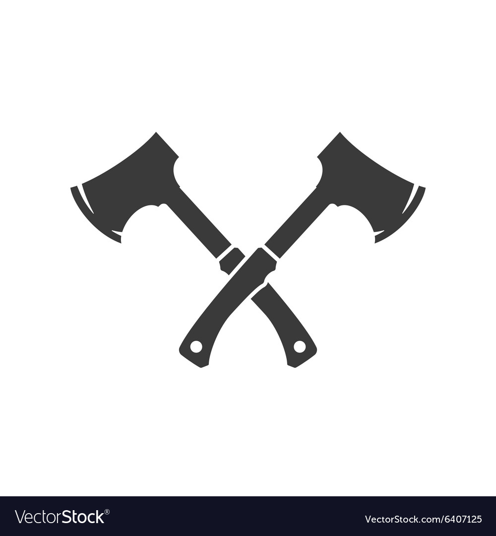 Lumberjack axes crossed fisolated on white vector
