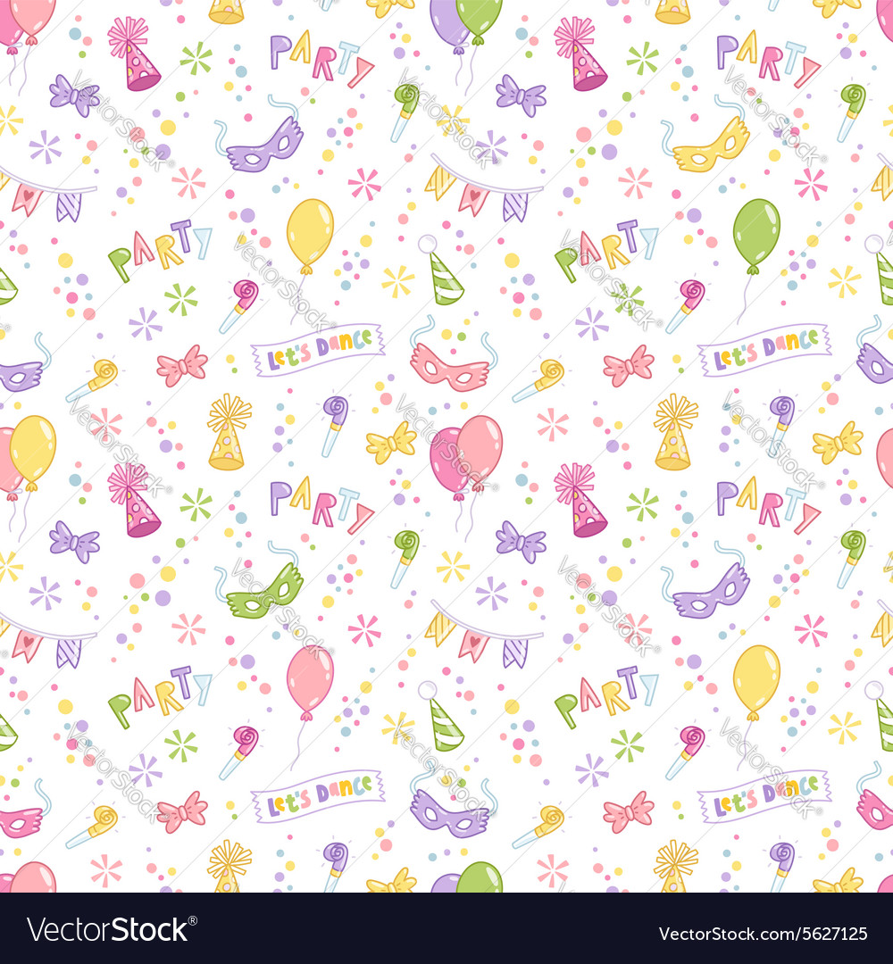 Party accessories seamless pattern vector