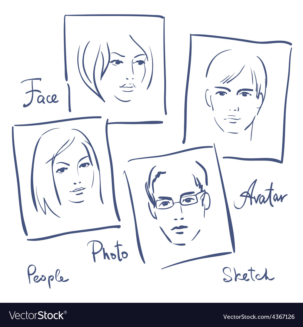 Women and men portrets sketchset of photo frames vector