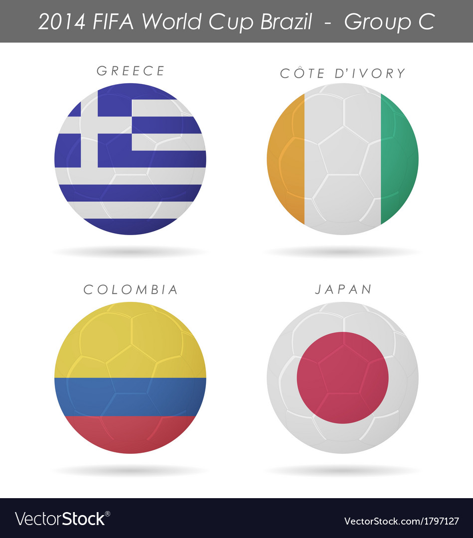 2014 fifa world cup group c countries vector