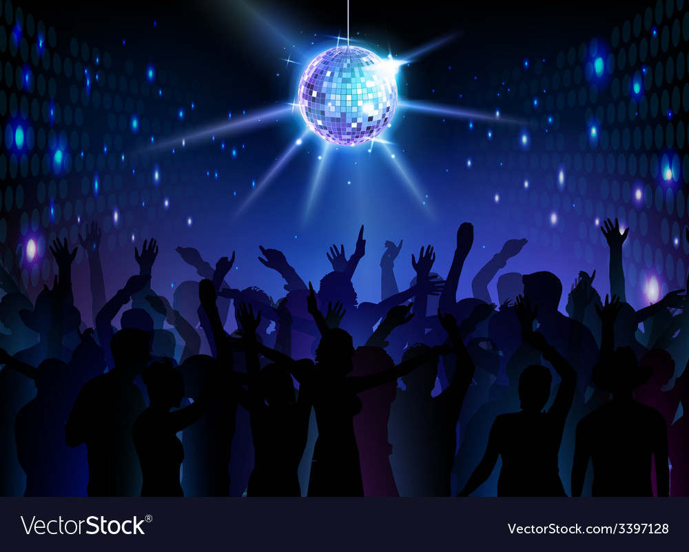 Disco ball background dancing people vector