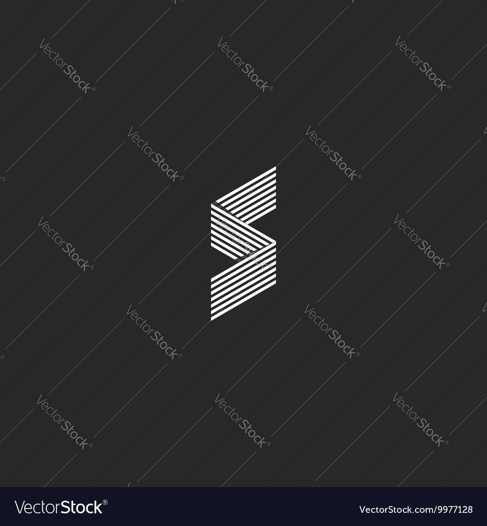 Idea s logo monogram mockup isometric broken line vector
