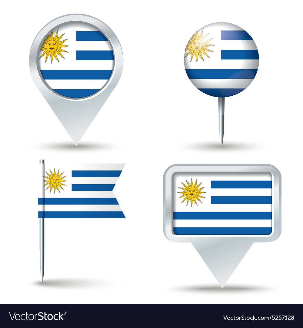 Map pins with flag of uruguay vector