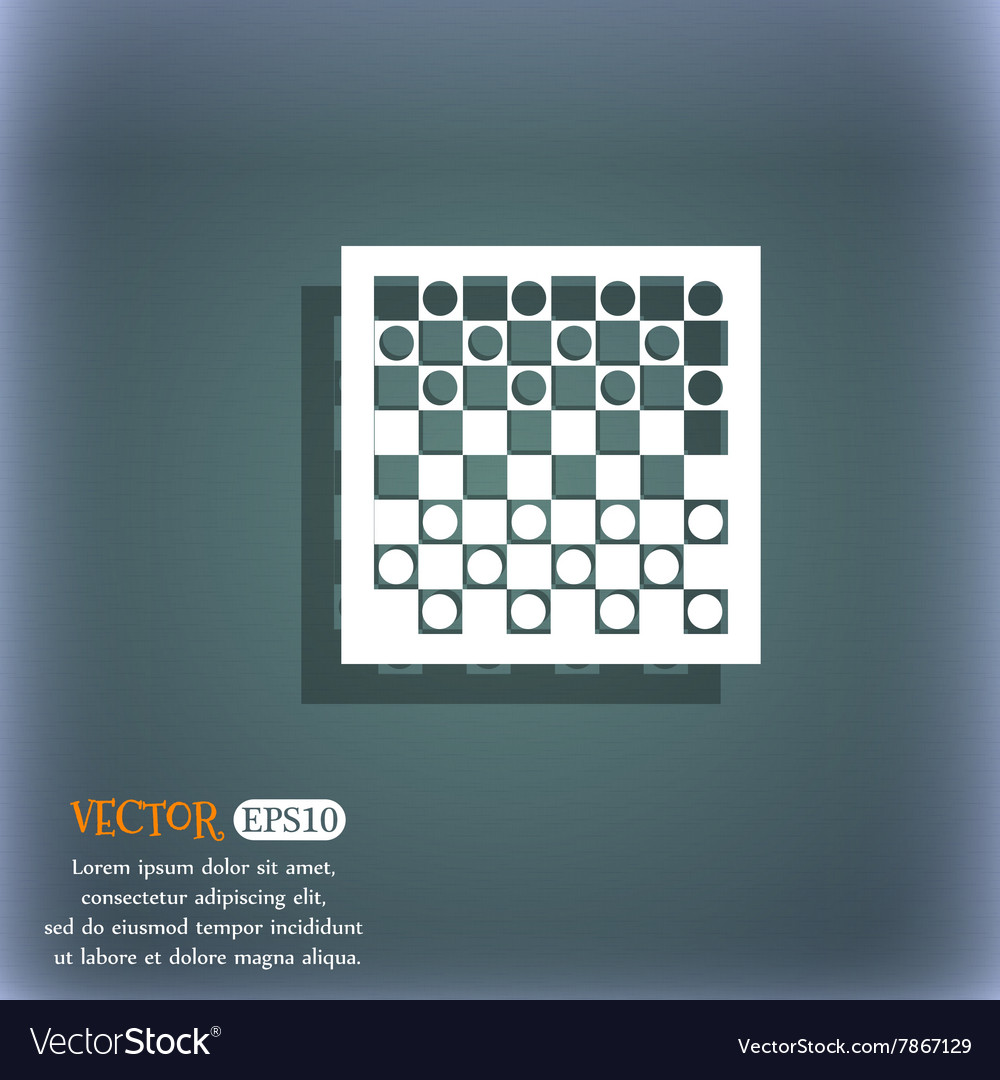 Checkers board icon on the bluegreen abstract vector