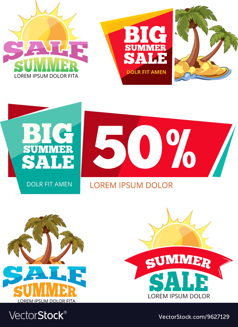 Emblems for big summer sales vector