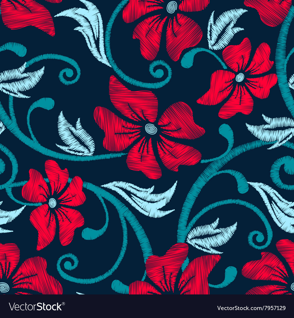 Red hibiscus tropical embroidery floral seamless vector