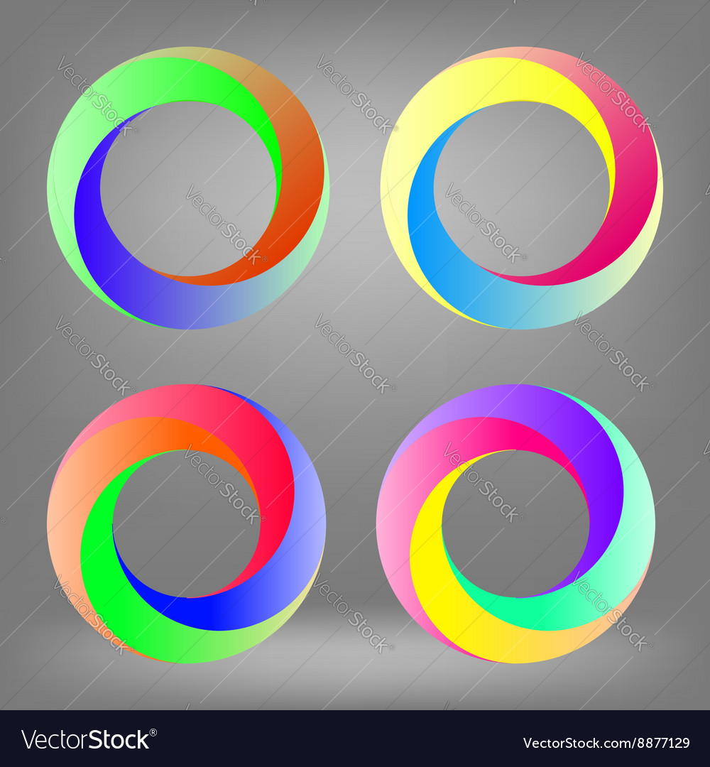 Set of colorful circle icons vector