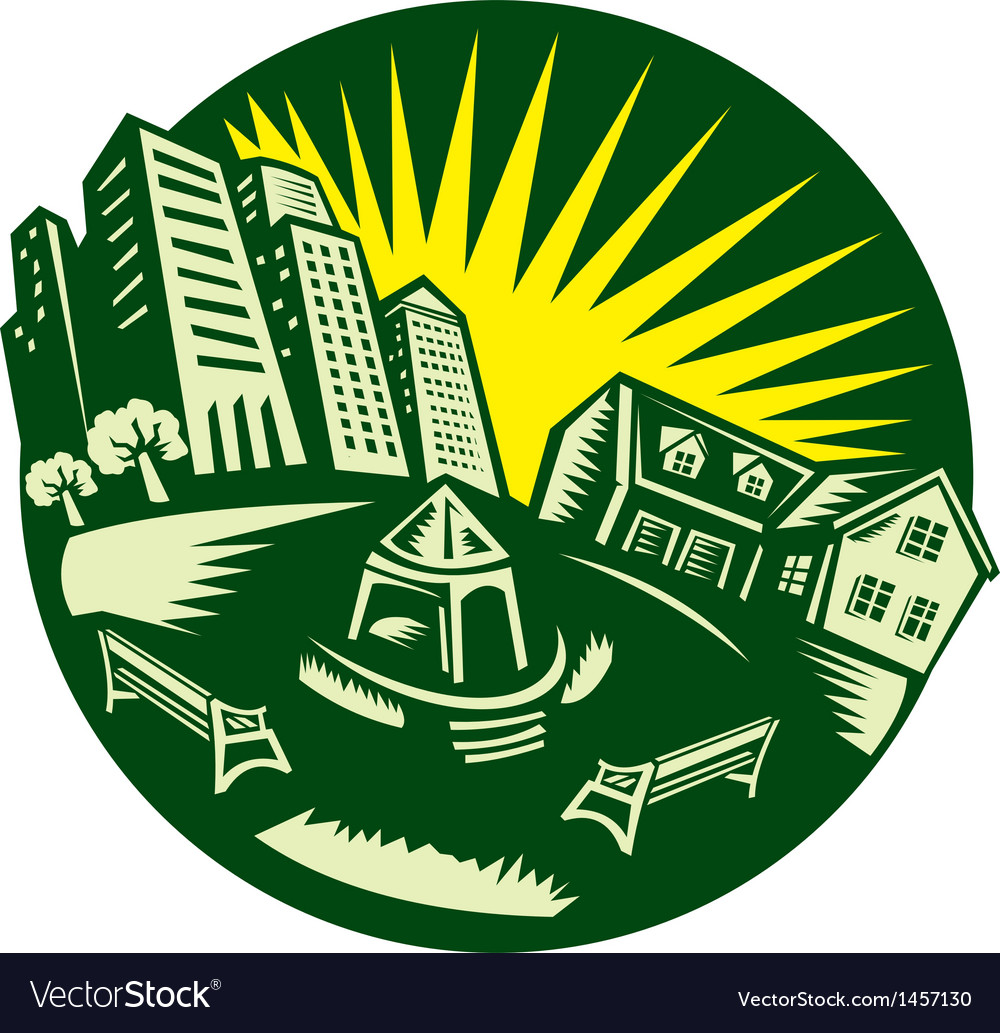 Urban building park house woodcut vector