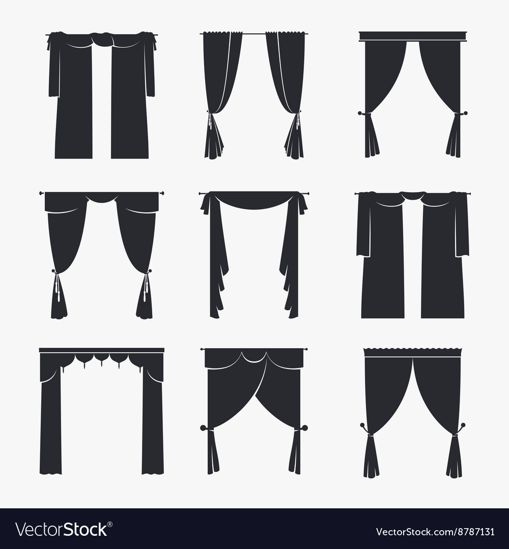Black curtain icons vector