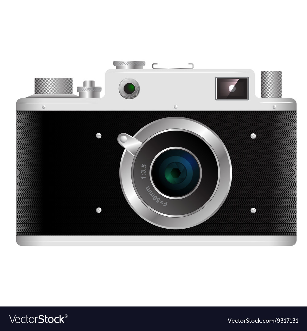 Old rangefinder film camera on a white background vector