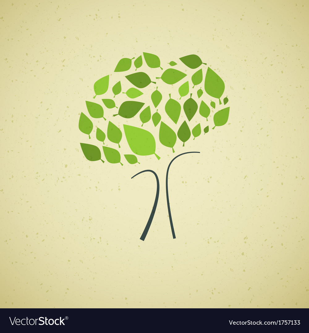 Abstract green tree on recycled paper background vector