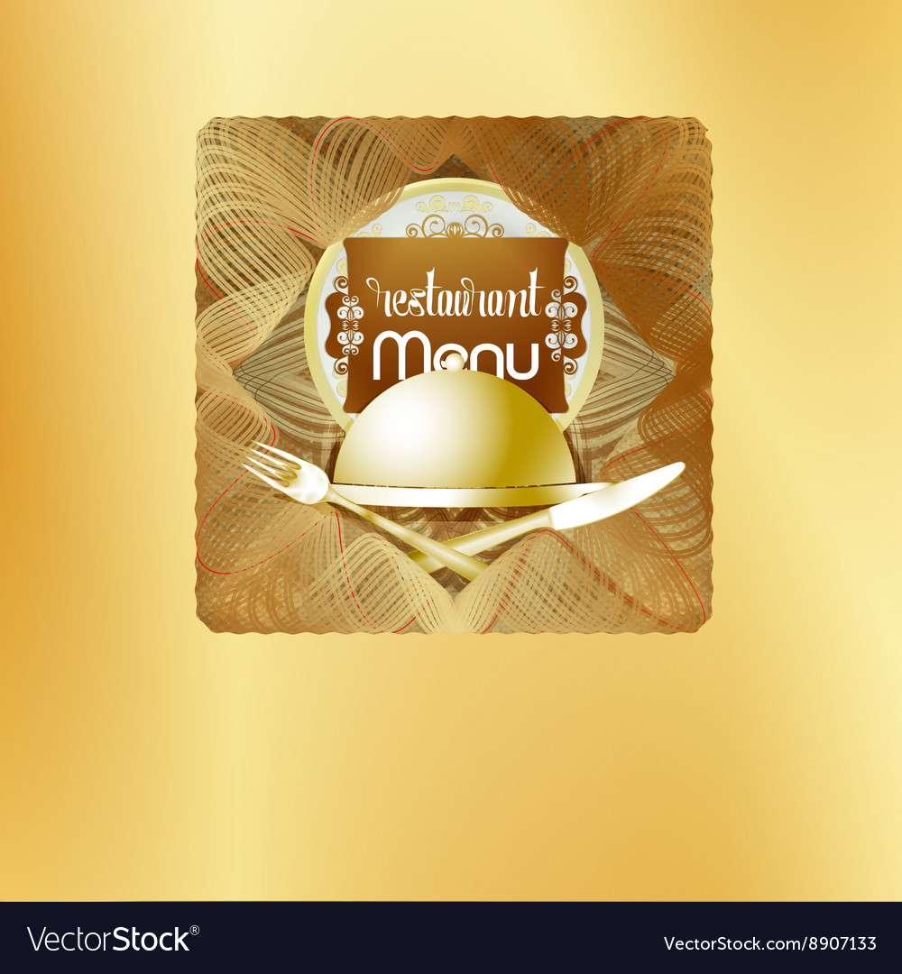 Golden cover design restaurant menu vector