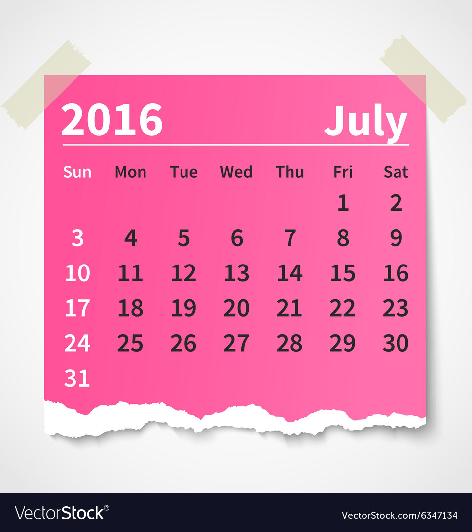 Calendar july 2016 colorful torn paper vector