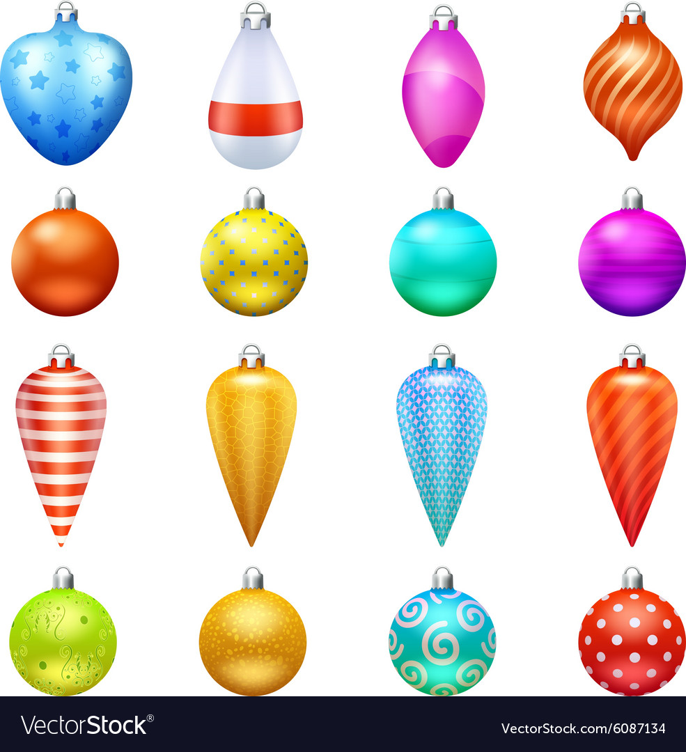 Christmas toys icons set vector