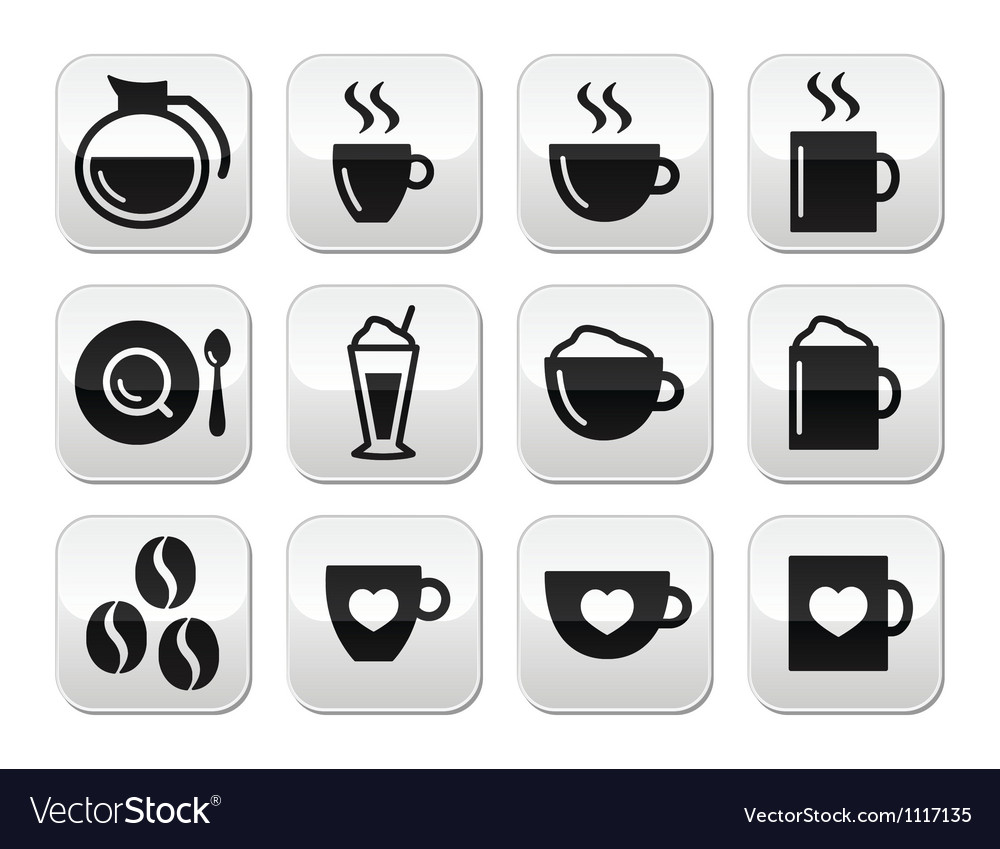 Coffee buttons set  vector
