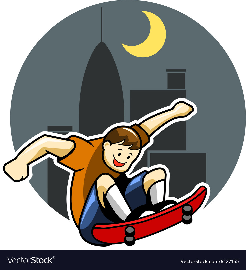 Skater boy and big city night background vector