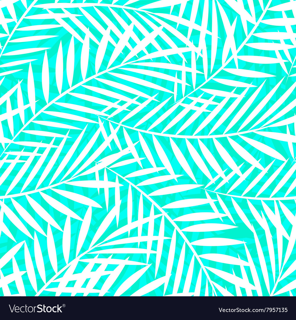 Tropical white and green palm tree leaves seamless vector