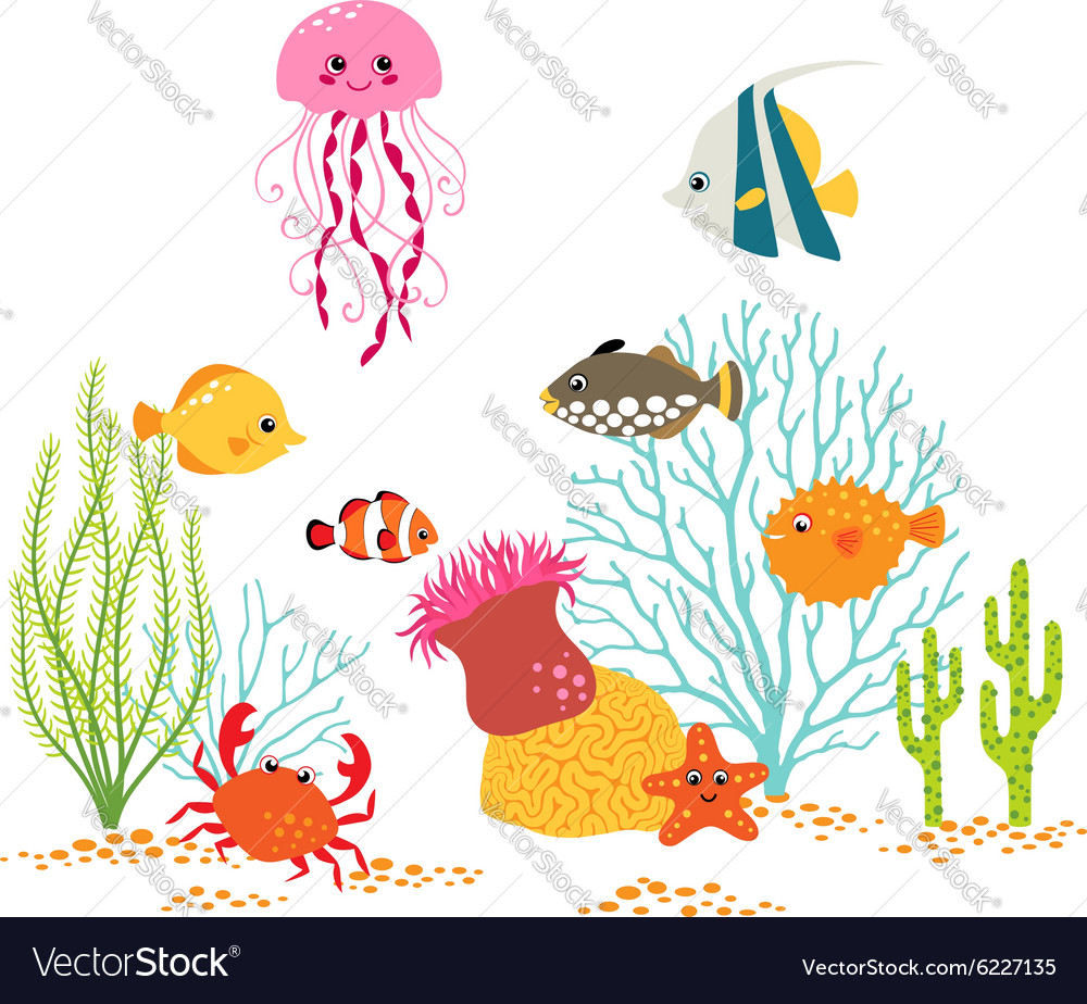Underwater world design vector