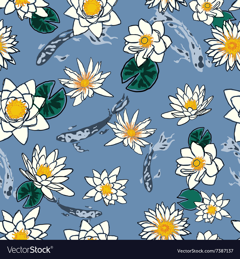 Seamless pattern with koi carp and flowers lotus vector