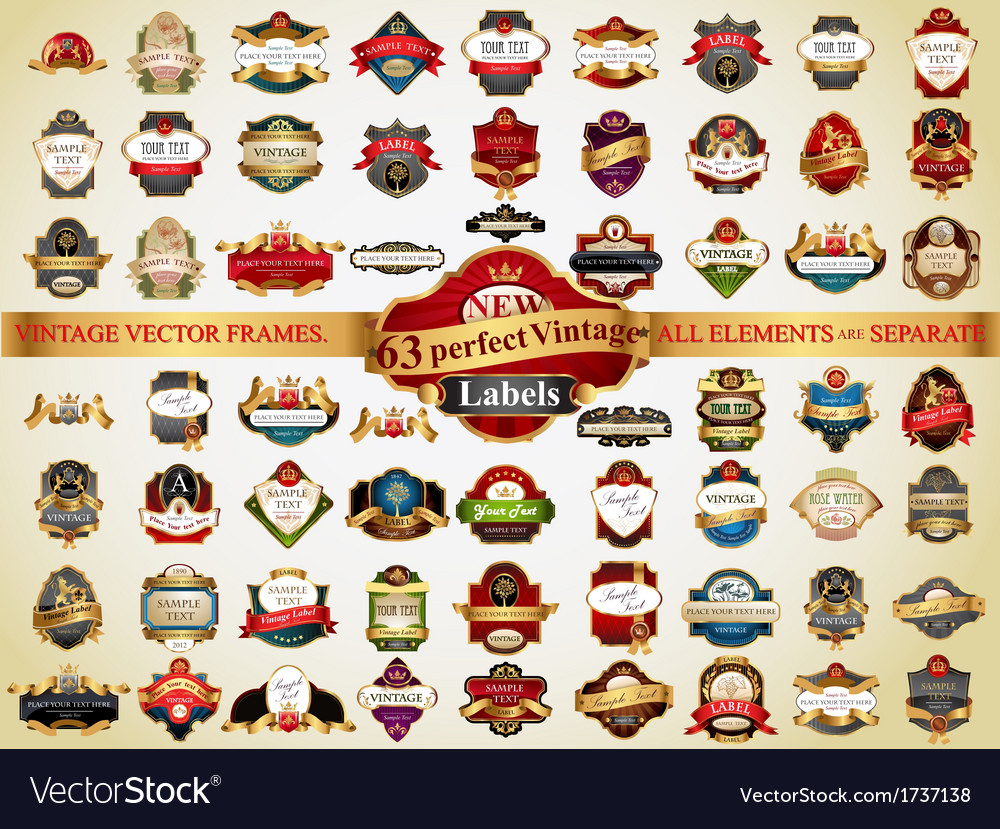 63 vintage labels vector