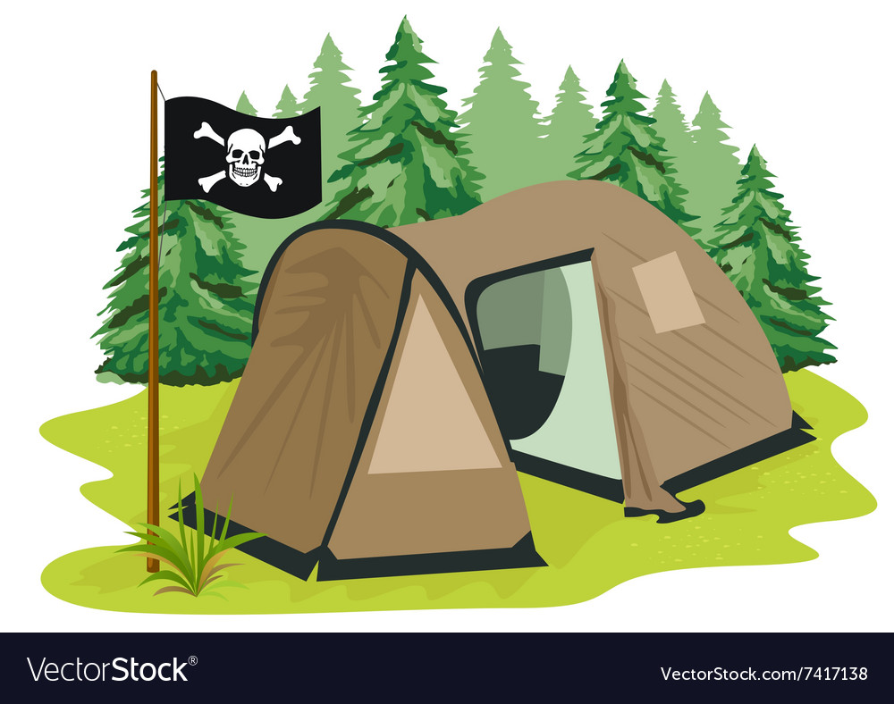 Brown camping tent with pirate flag vector