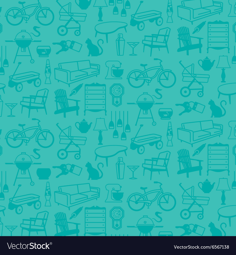 Seamless pattern of retro home icons vector