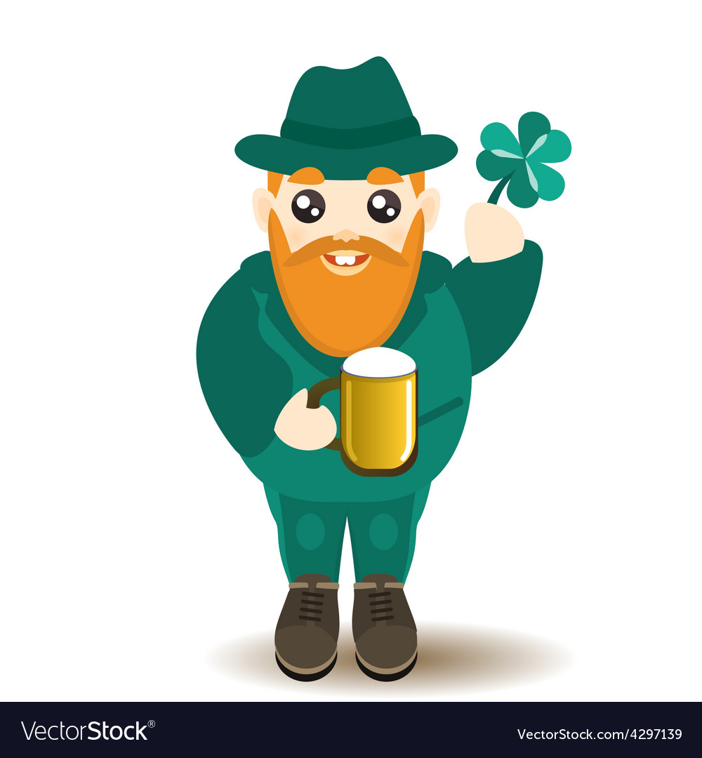 Bearded gnome with beer and shamrock vector