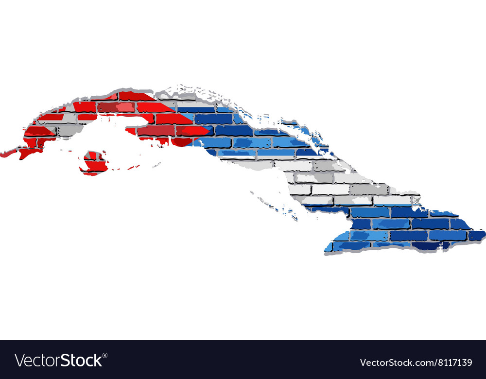 Cuba map on a brick wall vector