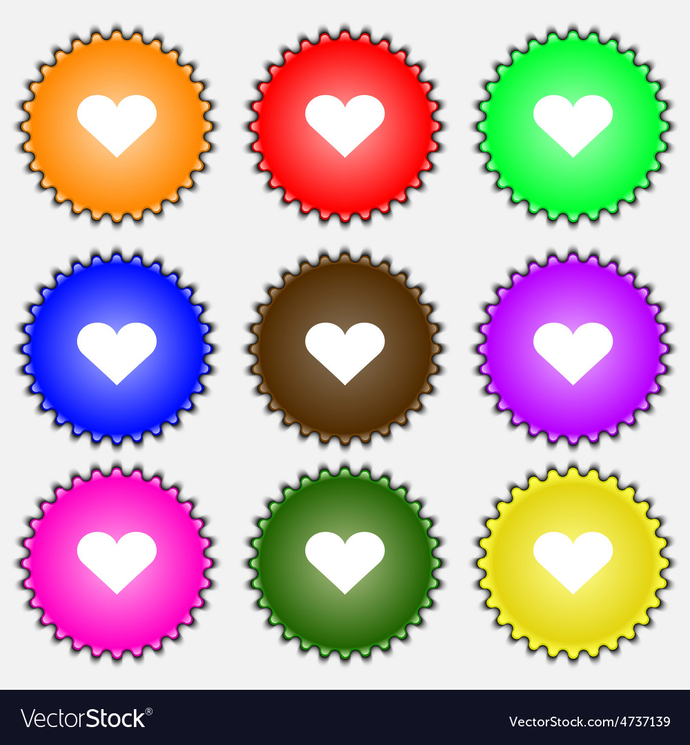 Heart love icon sign a set of nine different vector