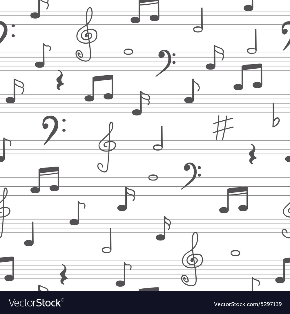 Music seamless pattern background hand drawn music vector